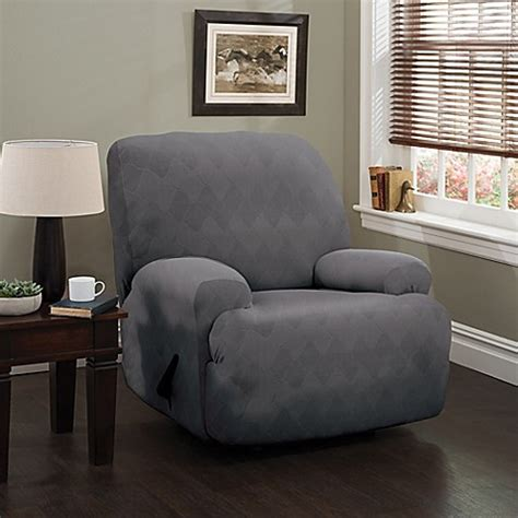 gray recliner slipcover buy optic xl recliner stretch slipcover in grey from bed
