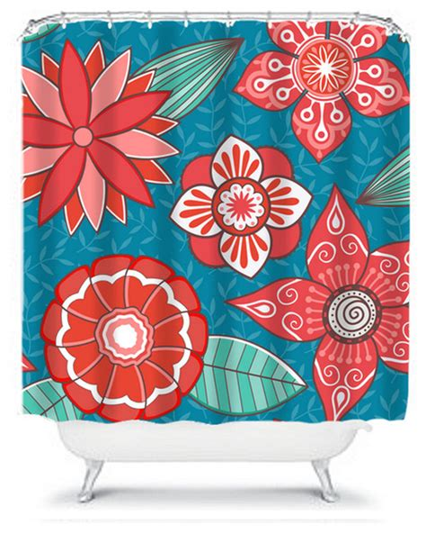 coral and teal shower curtain shower curtain flower teal coral 71x74 bathroom decor made