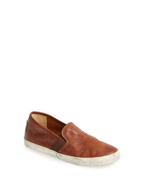 womens leather slip on sneakers frye leather slip on sneaker in brown