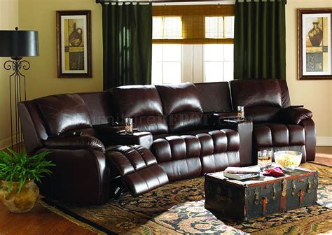 Home Theater Sofa Recliner Brown Leatherette Home Theater Sectional W Motorized Recliners