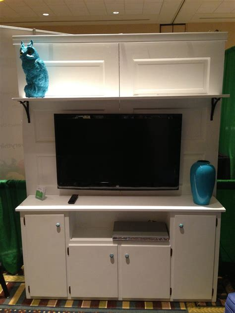 Using Kitchen Cabinets For Entertainment Center Restore Made This Beautiful Entertainment Center Out Of A Kitchen Cabinet And Two