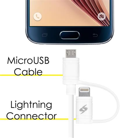 Joyroom Lightning Cable 1meter For Iphone 55s66plus White lightning cable with 2 in 1 micro usb 3 2 1 meter white