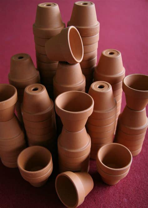 bulk lot   miniature clay flower pots doll house