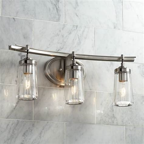Ls Plus Bathroom Vanity Lights Poleis 3 Light 24 Quot Wide Brushed Nickel Bath Light 9g439 Ls Plus