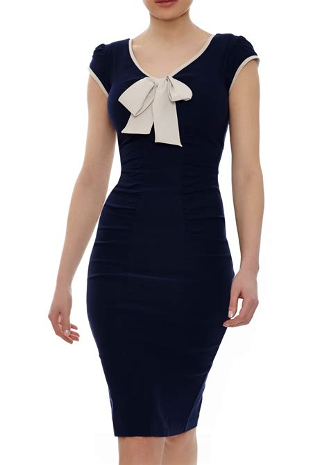 Bow Geometric Dress White Blue Size L claudette dress navy blue white bodycon dress with ivory bow
