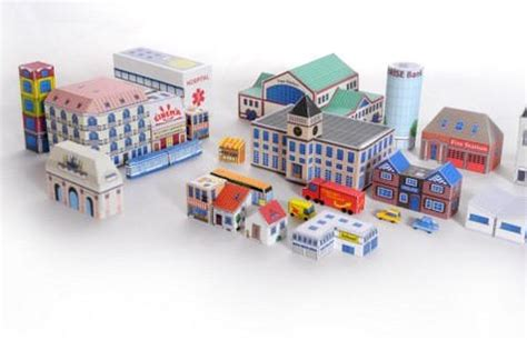 Paper Craft City - papercraft micro city diorama free template