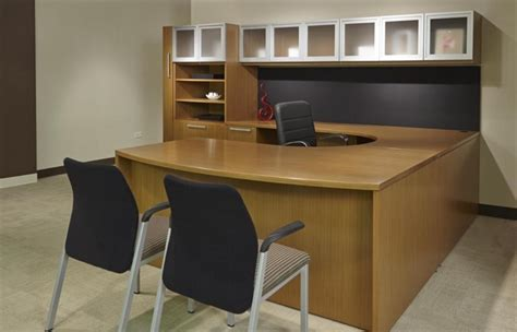U Shaped Office Desk With Hutch Wood Finish U Shaped Office Desk U Shape