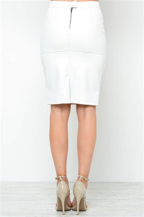 leather look pencil skirt in white