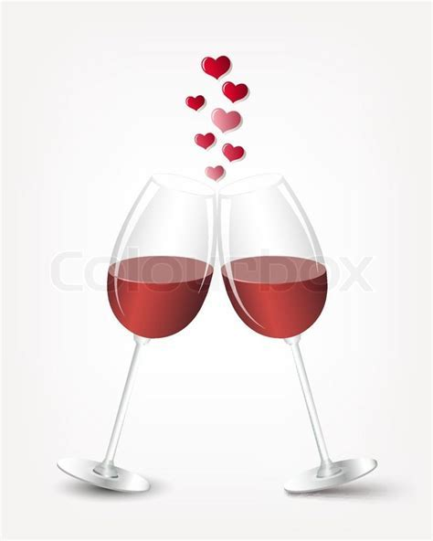 Love card with two wine glasses   Stock Vector   Colourbox