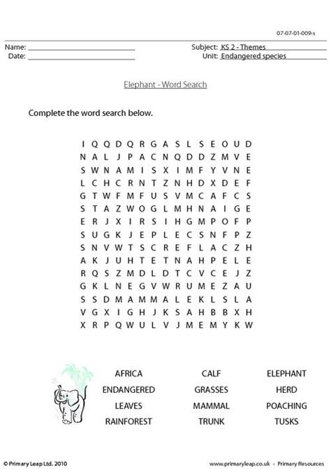 The Elephant Poem Worksheet Answers by Elephant Word Search Primaryleap Co Uk