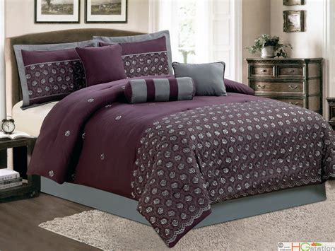 purple and grey comforter sets 11 pc embroidery rosebud rose floral comforter curtain set