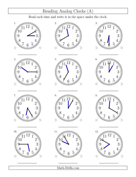 clock worksheets by the minute reading time on 12 hour analog clocks in 5 minute