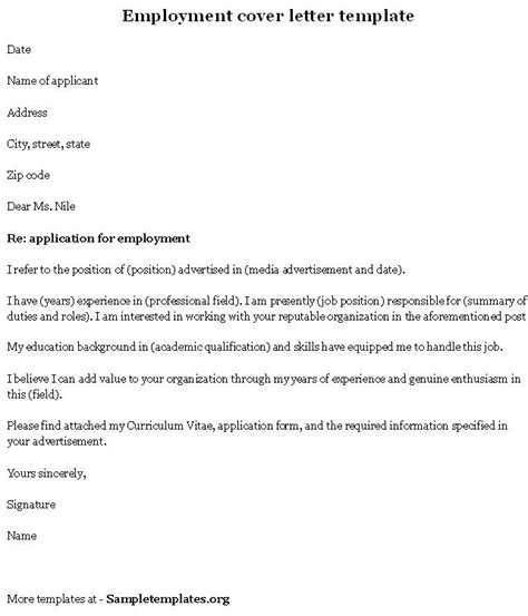 employment template for cover letter exle of