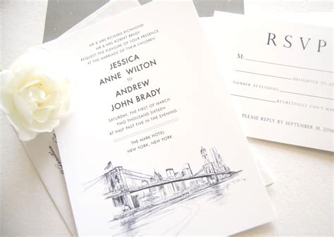 new york city skyline wedding invitations new york skyline wedding invitations
