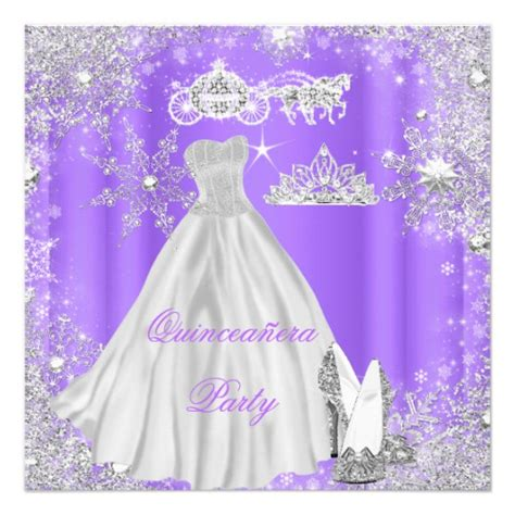 cinderella themed quinceanera invitations quinceanera 15th cinderella purple birthday party