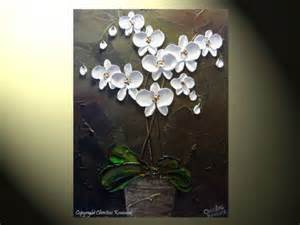 Send Flowers Without Vase Original Abstract Painting Textured Floral White Orchids