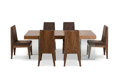 aura contemporary walnut floating dining table