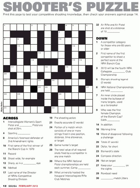 printable easy sports crossword puzzles shooting sports usa 171 daily bulletin