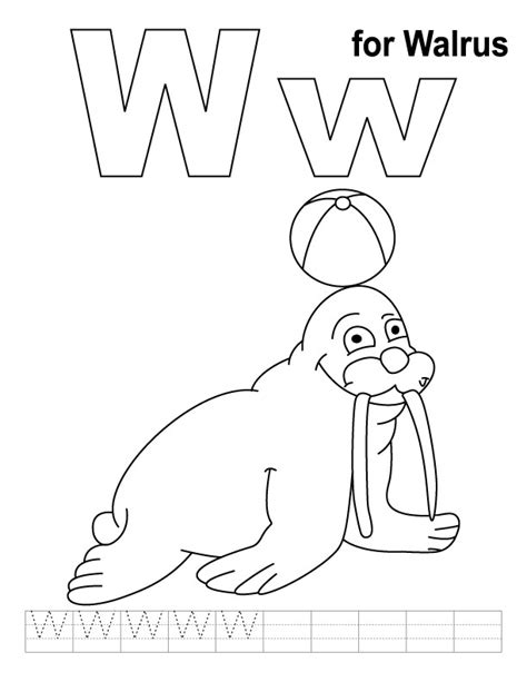 letter w coloring pages preschool w for walrus coloring page with handwriting practice
