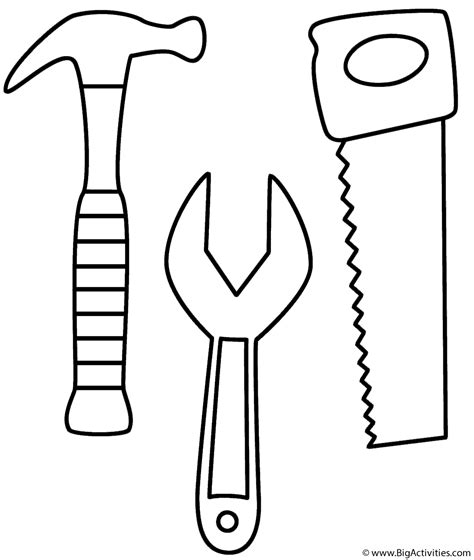 hammer saw and wrench coloring page tools