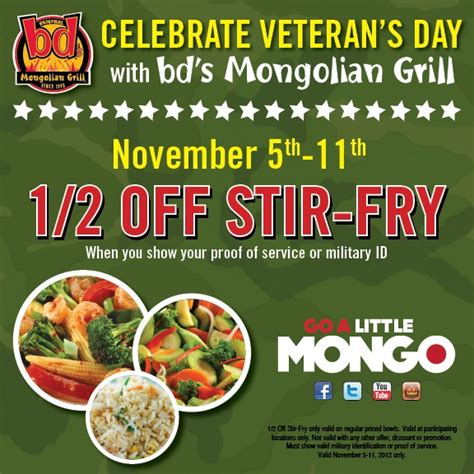 35 Veteran S Day 2012 Freebies Free Meals Deals And Mongolian Buffet Coupons