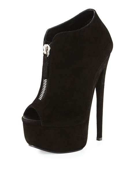 black suede high heel booties giuseppe zanotti suede peep toe high heel bootie in black