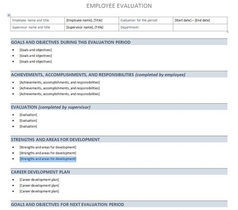 performance evaluation templates performance evaluation template performance evaluation sheet