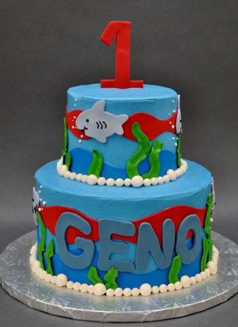 First  Ee  Birthday Ee   Cake With Shark Under Ter Theme In  Tiers Jpg