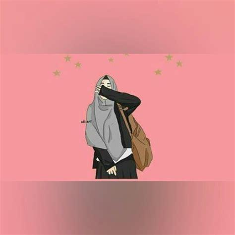 pin oleh tara   anme hijab ilustrasi seni islamis