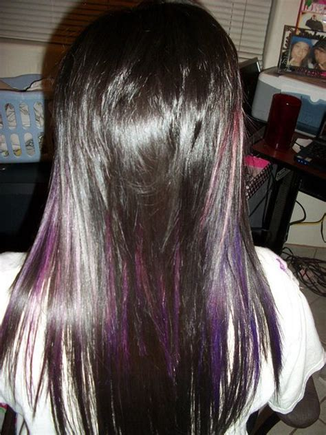 short hairstyles with peekaboo purple layer purple peek a boo highlights and haircut flickr photo
