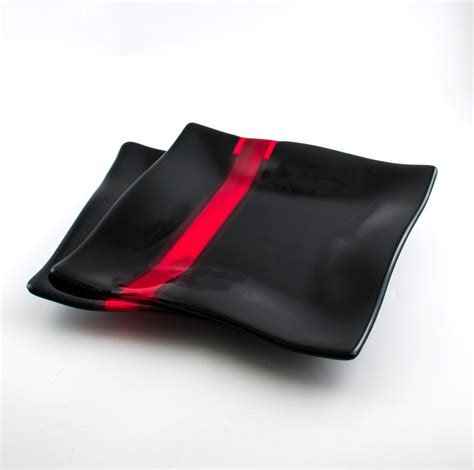 5 Piece Dining Room Sets black and red glass dinnerware set fused glass dinner plates