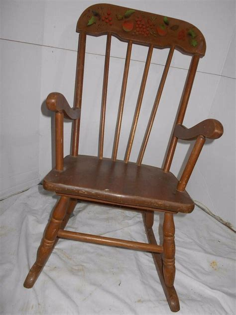 Childs Chair - vintage childs rocking chair painted black gold fruit