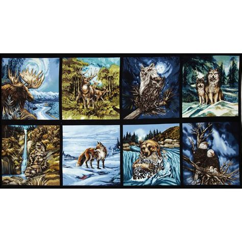 Wildlife Fabric For Quilting by American Wildlife 3 Block Panel 24 In Animals