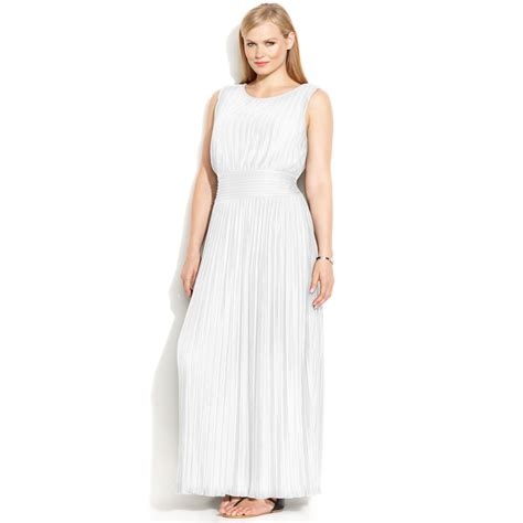 white maxi dress plus size calvin klein plus size sleeveless pleated maxi dress in