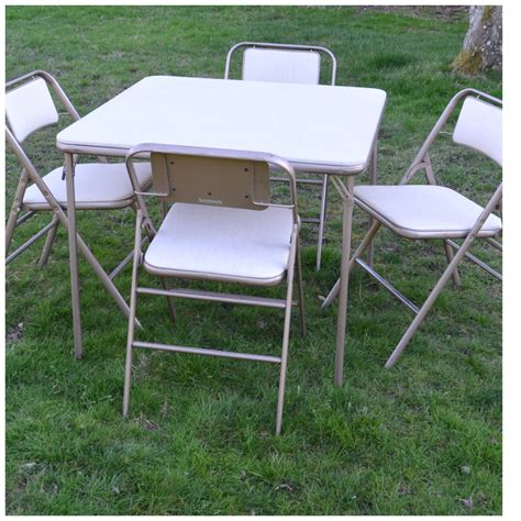 Folding Card Table And Chairs Card Table And Chairs Samsonite Samsonite Card Table And Four Chairs Modern Vintage Warehouse