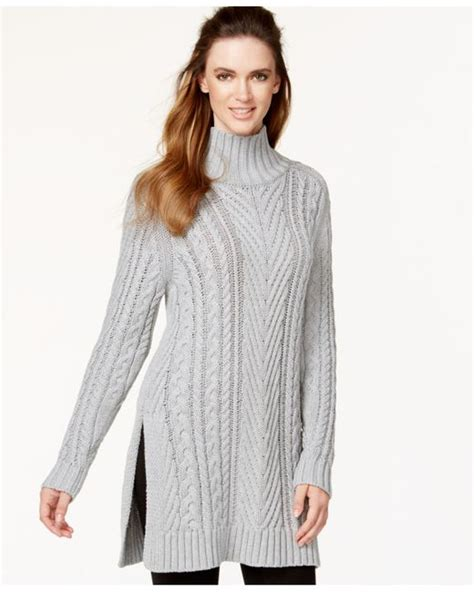 cable knit tunic sweater vince camuto mixed cable knit tunic sweater in gray tin