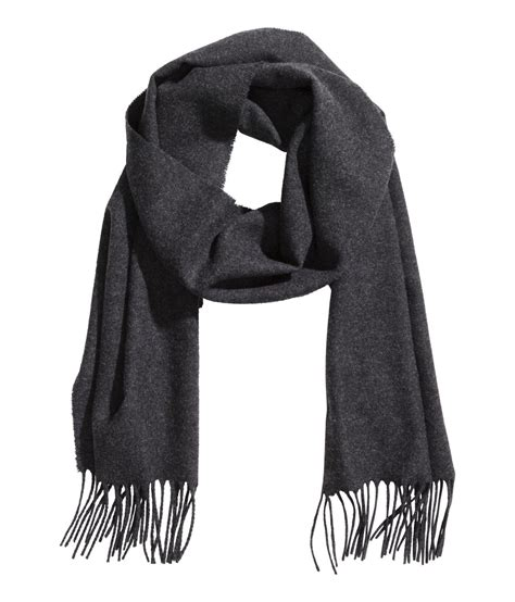 h m scarf in merino wool in gray for lyst