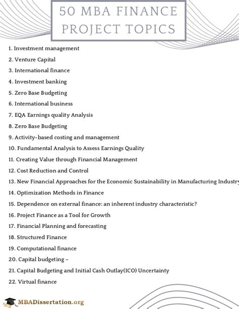 Mba Dissertation Topics In Corporate Finance by Mba Finance Project Topics