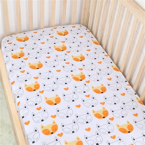 Orange Fitted Crib Sheet by Orange Fox Cotton Muslin Baby Fitted Crib Sheet Changyi