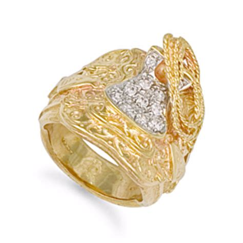 mens heavy 9ct yellow gold cz saddle ring 39 grams
