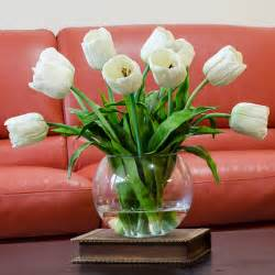 Artificial Tulips In Vase Large Real Touch Tulip Arrangement With White Tulip