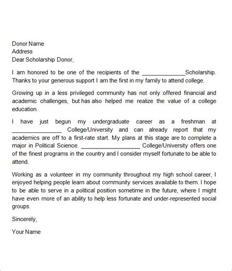 Thank You Letter For College Sle Scholarship Thank You Letter 11 Documents In Pdf Word