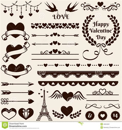 wedding design elements vector love romance and wedding design elements vector set