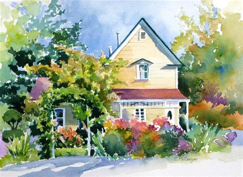 painting of houses buy original art by catherine mccargar watercolor