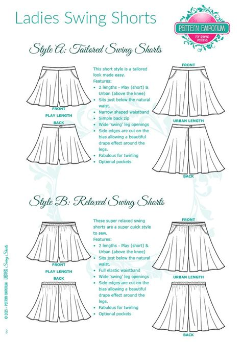 swing design patterns ladies swing shorts sewing pattern in tailored or easy fit