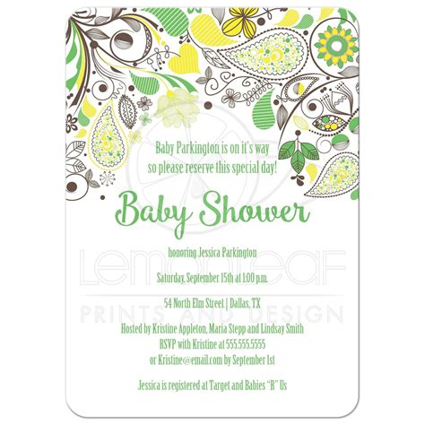 Yellow Baby Shower Invitations by Yellow And Green Paisley Neutral Baby Shower Invitation