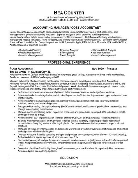 Resume Examples For Entry Level Jobs by Cost Accountant Resume Example