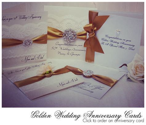 Handmade Golden Wedding Anniversary card. Luxury Cards for