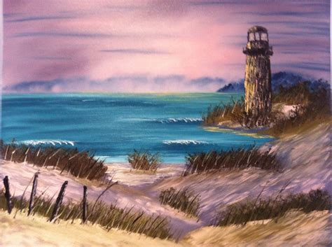 bob ross painting lighthouse on canvas based on a bob ross painting light