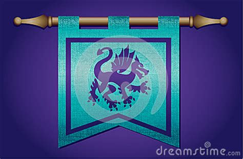 medieval flag  dragon emblem royalty  stock